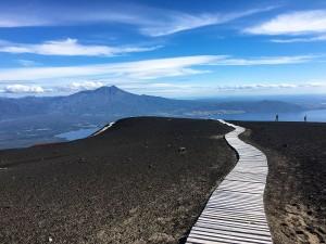 Dark volcanic ash landscape